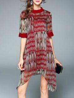 Multicolor Printed Geometric Asymmetrical Midi Dress