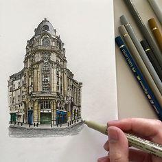 #art #drawing #pen #sketch #illustration #architecture #building #paris #france #street