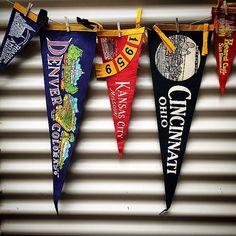 Vintage souvenir pennants available on Etsy (www.thatgypsysoul.etsy.com) #americana #pennants #souvenirs #roadtrips #vintagedecor #vintagestyle #retro #denver #kansascity #hearstcastle #cincinnati #roadsideamerica