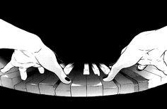 piano, black and white, and manga image