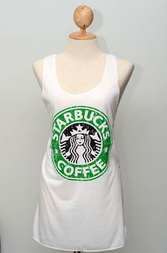 White  Starbucks  tank top Tunic Unisex Shirt men Vest Women Sleeveless Singlet T-Shirt Size  L