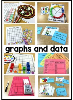 """Engaging, hands-on, interactive, math stations on graphs and data. Help your students with analyzing, naming, & reading graphs, analyzing & organizing data, tally charts, bar graphs, picture graphs, pictographs, real object graphs, charts, and building a graph with these math centers. These math station ideas and math games on graphs and data, graphing are perfect for kindergarten, first grade, and second grade. Read """"Math Stations by Standard"""" at www.tunstallsteachingtidbits.com"""