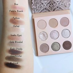 ColourPop That's Taupe Shadow Palette & Ultra Glossy Lip Rattler | Lenallure Eyeshadow Base, Eyeshadow Brushes, Eyeshadow Palette, Makeup Items, Makeup Products, Snake Eyes, Glossy Lips, Color Stories, Color Names