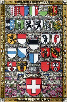 Swiss canton coats of arms. Switzerland Cantons, Basel, Fürstentum Liechtenstein, Swiss Flag, Medieval, Swiss Switzerland, Swiss Travel, Bern, Swiss Design