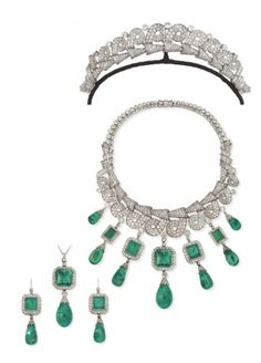 Art Deco parure.  The tiara converts to a necklace and the emerald pendants can be worn separately, attached to the necklace, and presumably also to the tiara.