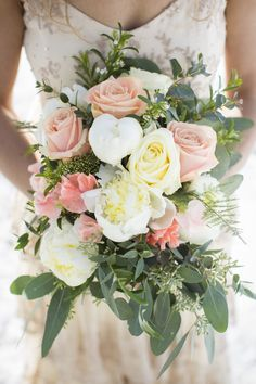 Wild bridal bouquet with peonies, roses, tracheliums, seeded eucalyptus and ferns. Designed by Forget-Me-Not Flowers, Banff. Photo by Kim Payant Photography. http://www.kimpayantphotography.com/