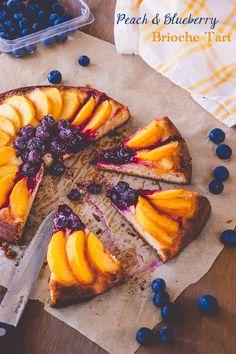Peach and Blueberry Brioche Tart Recipe | DeliciousEveryday.com An indulgent weekend breakfast treat