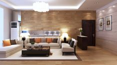 Wonderful Living Room Contemporary Apartment Decorating Ideas with Beige Set Sofa Color of Fabric Sponge and wooden Floors using Carpeted White of Fabric Soft also Wooden Wall Brown Color Design