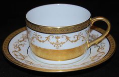 A. Raynaud & Co. Medicis Blanc Tea cup and Saucer with Gold Incrustation