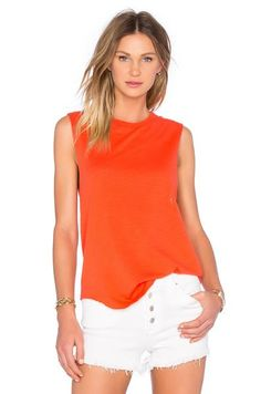 Feel the Piece Caution Red Cut Off Tank $79