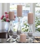 "Classic Style™ Pillar Holders  5 out of 5  Read all 6 reviews Write a review  Item #: P90637    Shapely pedestals formed from clear hand-blown glass hold a round pillar or large tealight. Invert to hold a universal tealight. Small holder also a reed diffuser holder. Candles sold separately. Set includes one of each size: 12 1/4"" h, 10 3/4"" h and 9 1/4"" h.  Price:   $95.00/set of 3  SHOP:  www.partylite.biz/madeforyou"