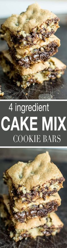 These dairy free 4 Ingredient Cake Mix Bars are super easy to throw together and taste like a blondie chocolate chip cookie!