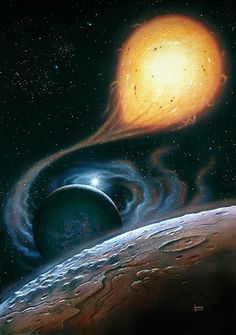 A tumultuous binary star system, painted by David A. Hardy.
