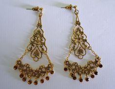 Vintage Dangle earrings gold tone pierced by Shabyas on Etsy, $5.99