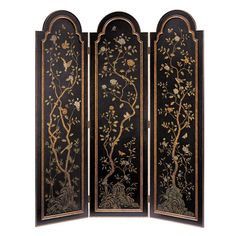 Chinoiserie Three Panel Blossom Screen