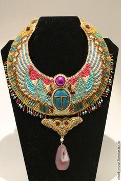 """Колье """"Alexandria"""" - древний египет,египет,цветной,скарабей,бисер,ручная работа"""
