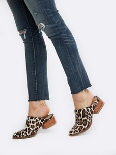 We love the effortless style of these leather leopard mules, which feature a slight heel and sleek pointed toe. Bonus: The closed-toe makes this the perfect crossover shoe between seasons!  Handmade in Peru