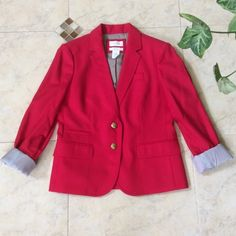 J. Crew Schoolboy Blazer NWOT! Gorgeous candy apple red with ornate gold button closures. 100% wool and lined inside. Cuffs are pinstriped lined. Multiple pockets on the front and one interior pocket. Notch collar with dark grey felt under collar. J. Crew Jackets & Coats