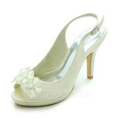 Wedding Shoes - $53.99 - Women's Satin Cone Heel Peep Toe Platform Sandals Slingbacks With Satin Flower (047017773) http://jjshouse.com/Women-S-Satin-Cone-Heel-Peep-Toe-Platform-Sandals-Slingbacks-With-Satin-Flower-047017773-g17773