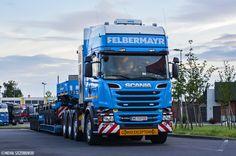 Firma: Felbermayr Transport- und Hebetechnik GmbH & CO KG [ Austria (A) ]  Ciężarówka: Scania R730 V8 Streamline Topline Kraj pochodzenia: Austria (A) Tagi: naczepa, modułowa, niskopodłogowa, gabaryt, pusher, V8 Data: 30.06.2016 Miejsce: stacja paliw Total Autohof - Rothensee, Magdeburg (D)