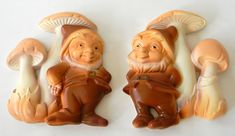 Miller Studio Inc Gnomes with Mushrooms 1979 Kitchen Wall plaques Set of 2 #MillerStudioInc