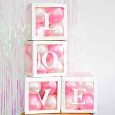 Diy Letter Boxes, Diy Letters, 3rd Birthday Parties, Birthday Party Decorations, Name Balloons, Ballons, Baby Shower Roses, White Box, Rainbow Dash