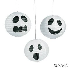 These sweetly-spooky Halloween decorations are sure to conjure up some fun at your Halloween party! Hanging lanterns with frightening flair, they feature . Spooky Halloween Decorations, Halloween Displays, Halloween Crafts For Kids, Halloween Home Decor, Halloween Ghosts, Halloween 2020, Halloween Parties, Halloween Games, Halloween Birthday