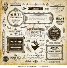 Vector set of calligraphic design elements: page decoration, Premium Quality and Satisfaction Guarantee Label, antique and baroque frames | Old paper texture with dirty footprints of a cup of coffee. by Ozerina Anna, via ShutterStock