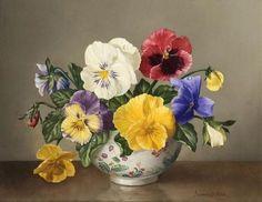 James Noble-Pansies in a Chinese Bowl Acrylic Flowers, Oil Painting Flowers, Artist Painting, Watercolor Flowers, Love Flowers, Vintage Flowers, Beautiful Flowers, Flower Vases, Flower Art