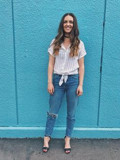 spring fashion  #denim #momjeans #jeans #striped top #choker #curlyhair #style #stilettos