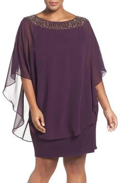Xscape Embellished Chiffon Overlay Jersey Sheath Dress (Plus Size) Flattering Plus Size Dresses, Flattering Outfits, Mother Of The Bride Plus Size, Dress For Petite Women, Solange, Ball Gowns Evening, African Print Dresses, Nordstrom Dresses, Sheath Dress