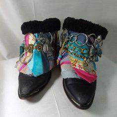 VTG sz 8.5M Upcycle Women Gypsy Boho Urban Cowboy Hippie Boot ankle ethnic  #Vintage #CowboyWestern