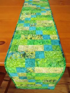 Batik Table Runner Patchwork Table Runner by PatchworkMountain Patchwork Table Runner, Table Runner And Placemats, Quilted Table Runners, Lap Quilts, Small Quilts, Quilted Table Toppers, Tablerunners, Mug Rugs, Place Mats