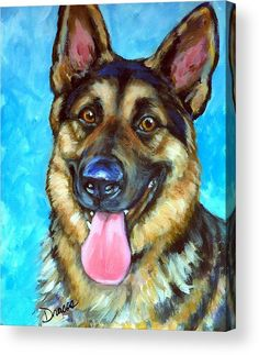 Smiling German Shepherd Acrylic Print by Dottie Dracos. All acrylic prints are professionally printed, packaged, and shipped within 3 - 4 business days and delivered ready-to-hang on your wall. Choose from multiple sizes and mounting options. King German Shepherd, German Shepherd Painting, German Shepherd Puppies, German Shepherds, Dog Portraits, Animal Paintings, Dog Art, Dog Pictures, Canvas Art
