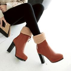 Women's Pure Color Round Toe High Heel Ankle Boots