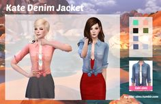 "gabi-sims: "" Kate Denim Jacket Made another CC! I can't think of good names I edited the denim jacket and removed the shirt that was inside and converted it into an accessory. I hope you guys like it! If you use it tag it at #gabi-simscc Download..."