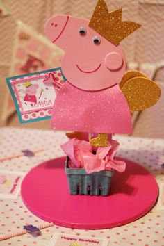 Peppa Pig Inspired Centerpiece by CraftMePrettyShoppe on Etsy
