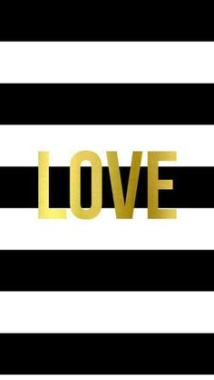 Black White Stripes gold Love iphone wallpaper phone background lock screen