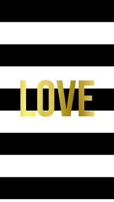 Black White Stripes gold Love iphone wallpaper phone background lock screen