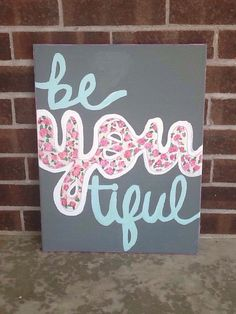 Be-you-tiful Hand Painted Canvas by AHalOfAGirl on Etsy