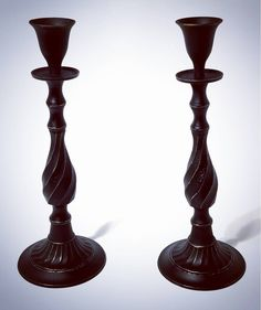 Set of Gothic Victorian vintage brass candlesticks.