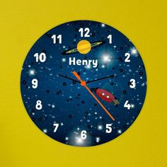 Kids Gift Idea -  Personalised Kid's Clock - Space Design - Ideal For Boy's Bedroom  - Lovely Present Idea for Children or Toddlers. Birthday or Christening gift.