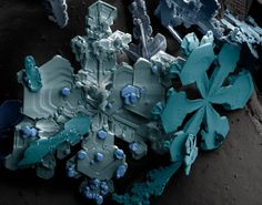 snow crystals under an electron microscope