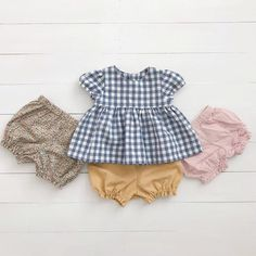 Spring Girls Top, Gingham Girls Dress, Cotton Girl Dress, Blue and White Girls Dress, Baby Doll Top Girls White Dress, Dresses Kids Girl, Kids Outfits Girls, Cute Outfits For Kids, Toddler Girl Outfits, Baby Outfits, White Girls, Sewing Kids Clothes, Baby Kids Clothes