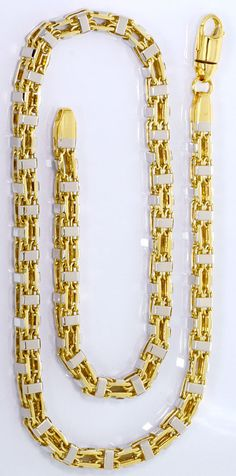 Foto 3, SUPER-SCHWERE MASSIVE GOLD-KETTE GELBGOLD WEISSGOLD 14K, K2571