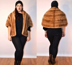 1940s sz medium / large autumn haze mink fur cape // #USAMADE #FauxyFurrVintage