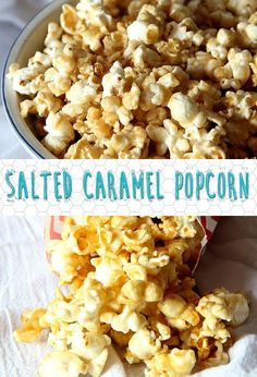 This Easy Salted Caramel Popcorn Recipe is my favorite Caramel Corn Recipe! It's so easy and adding that extra salt gives it the perfect salty/sweet combo!