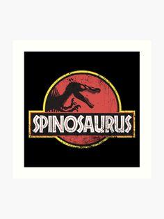 'Spinosaurus jurassic style grunge' Art Print by helgema Grunge Art, Spinosaurus, Colour Images, Cool T Shirts, Vibrant Colors, Print Design, Classic T Shirts, Art Prints, Style