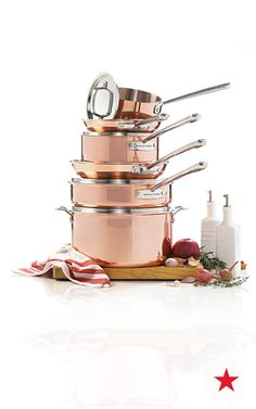 Martha Stewart Collection tri-ply copper cookware set something to - Cookware Set - Ideas of Cookware Set - Martha Stewart Collection tri-ply copper cookware set something to make sure your skills in the kitchen really shine Kitchen Items, Kitchen Gadgets, Kitchen Appliances, Kitchen Tools, Copper Kitchen Utensils, Kitchens, Rustic Kitchen, Kitchen Decor, Rose Gold Kitchen