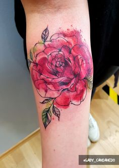 watercolor rose on lower arm by gaby_candanedo Aquarell Rose Watercolor Tattoo Rosentattoo Rot München
